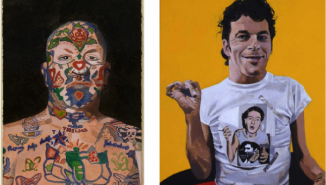 Peter Blake 2015 London Exhibition: Peter Blake, Ian Dury, 2001, acrylic on board, 30.5 x 25.4 cm, courtesy the artist and Waddington Custot Galleries, Peter Blake, Tattooed Man 5, 2015, watercolour, 15.1 x 10.7 cm, courtesy the artist and Waddington Cust