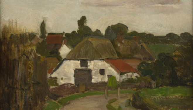 Early Modrian, David Zwirner: Above: Roadway and Farm Building near Arnhem, ca.1902, Oil on panel.  14 x 10 1/2 inches (35.5 x 26.5 cm).  Private Collection, London