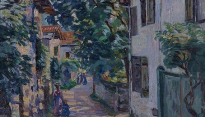 Connaught Brown Winter Exhibition, Jean-Baptiste Armand Guillaumin, Une rue à Epinay sur Orge, c.1885, oil on canvas, 65 x 54 cm