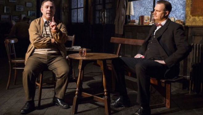 Andy Nyman and David Morrissey in Hangmen; photo by Helen Maybanks