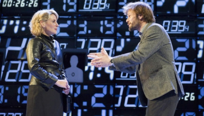 Lisa Dillon (Hapgood) and Alec Newman (Kerner) in Hapgood at Hampstead Theatre; photo by Alastair Muir