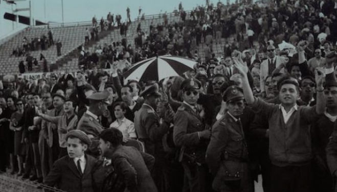 Audience in Independencia Stadium, Montevideo, during Peñarol Athletics Club soccer play. Unknown date, between 1957 and 1973. El Popular Private Collection Reproduction Authorized by Aurelio González and Centro de Fotografía, photography London 2016