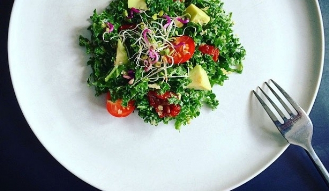 Green goodness: kale, avocado and sprout salad