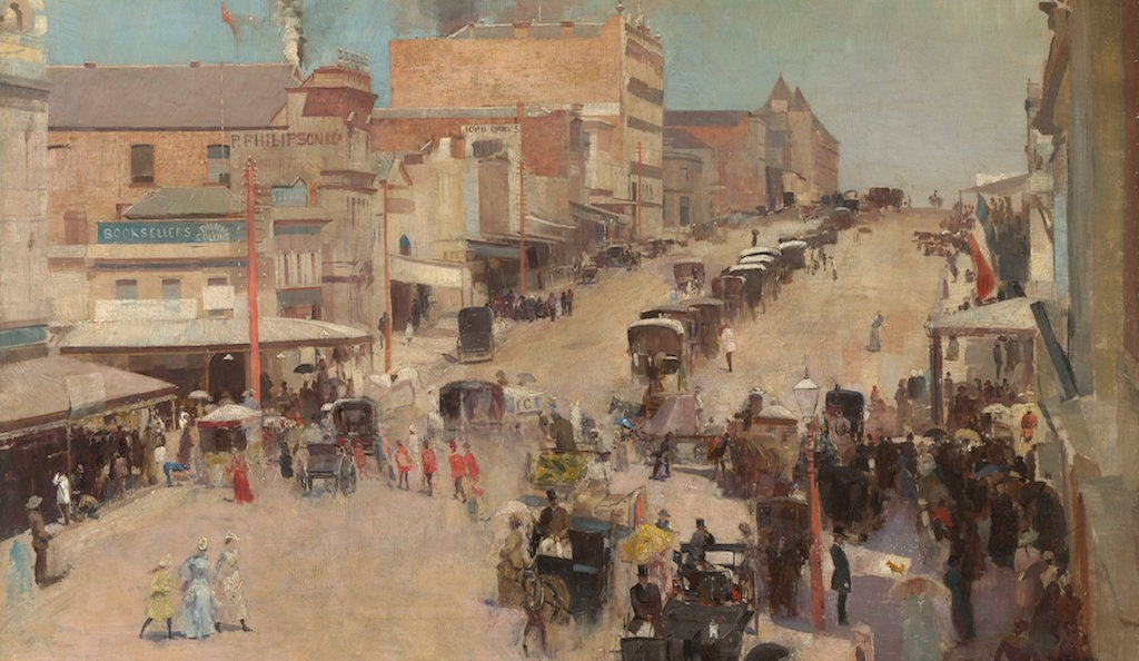 Tom Roberts, Allegro brio, Bourke Street west, about 1885-86, reworked 1890 Purchased 1920 by the Parliamentary Library Committee © National Gallery of Australia and National Library of Australia, Canberra