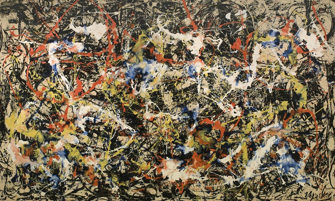 Jackson Pollock's Blue Poles, (1952), on loan from Canberra. Photograph: © The Pollock-Krasner Foundation ARS, NY