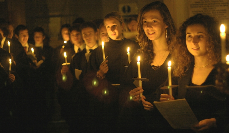 The choir of King's College London open the 31st Christmas Festival at St John's Smith Square on 9 December