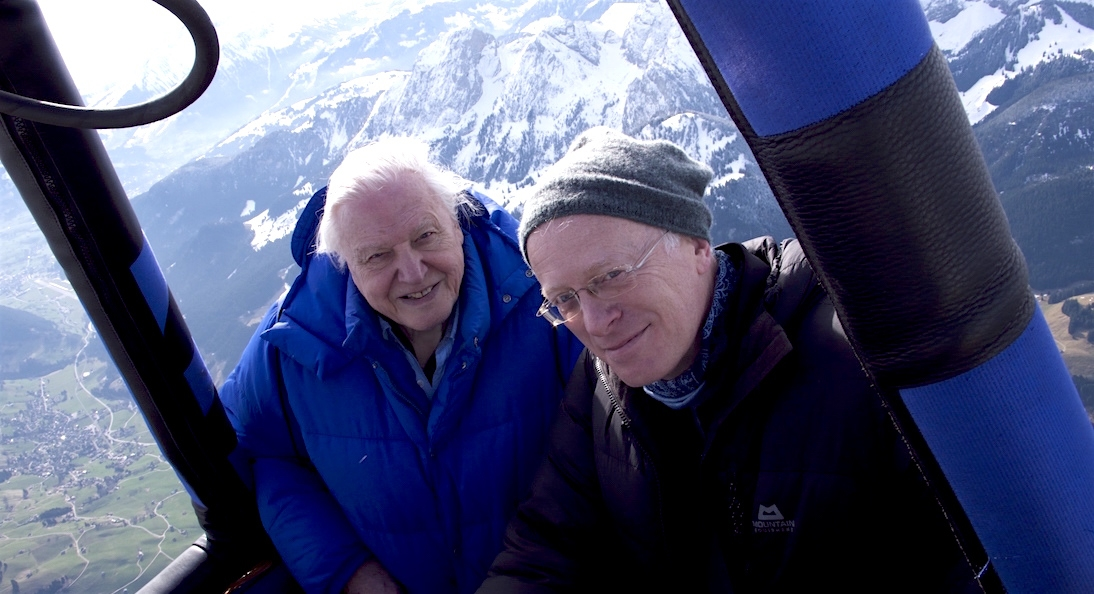 Mike Gunton with David Attenborough during filming for Planet Earth II