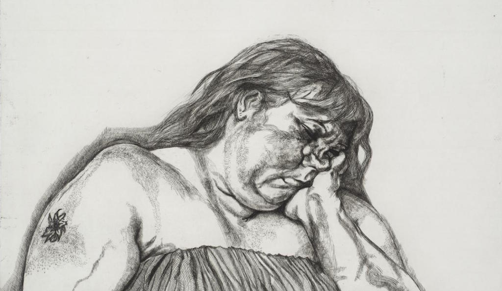 Lucian Freud 'Woman with Arm Tattoo' 1996, etching, 70.0 x 92.0 cm