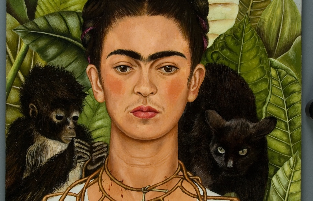 Detail: Frida Kahlo Self-Portrait With Thorn Necklace and Hummingbird, 1940 Courtesy Banco de México Diego Rivera Frida Kahlo Museums Trust,Mexico, D.F. / DACS / Harry RansomCenter, The University of Texas at Austin