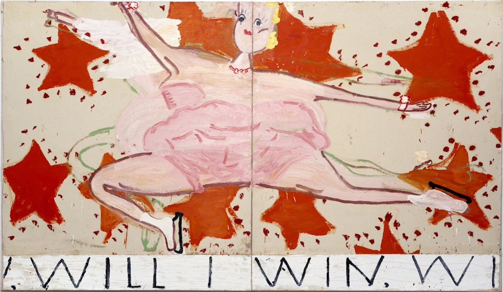 Rose Wylie, Pink Skater, (Will I Win, Will I Win), 2015, Oil on canvas, 208 x 329 cm, Courtesy the artist, Photo: Soonhak Kwon