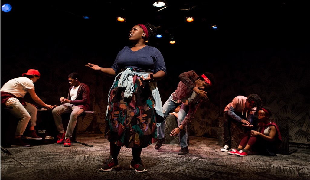 The Fall, Baxter Theatre Centre at the University of Cape Town, Front_ Tankiso Mamabolo Back_ Ameera Conrad, Oarabile Ditsele, Sizwesandile Mnisi, Cleo Raatus, Sihle Mnqwazana, Thando Mangcu, picture by Oscar O'Ryan