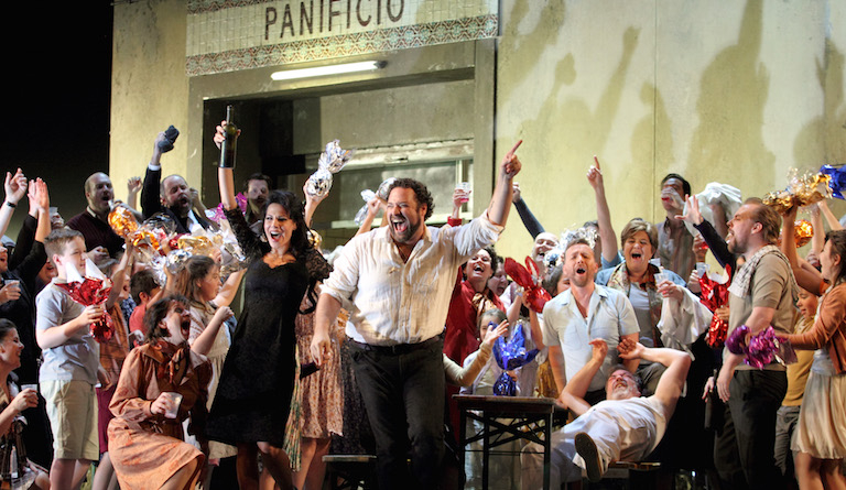 The town is in party mood in Cavalleria Rusticana at the Royal Opera House. Photo: Catherine Ashmore