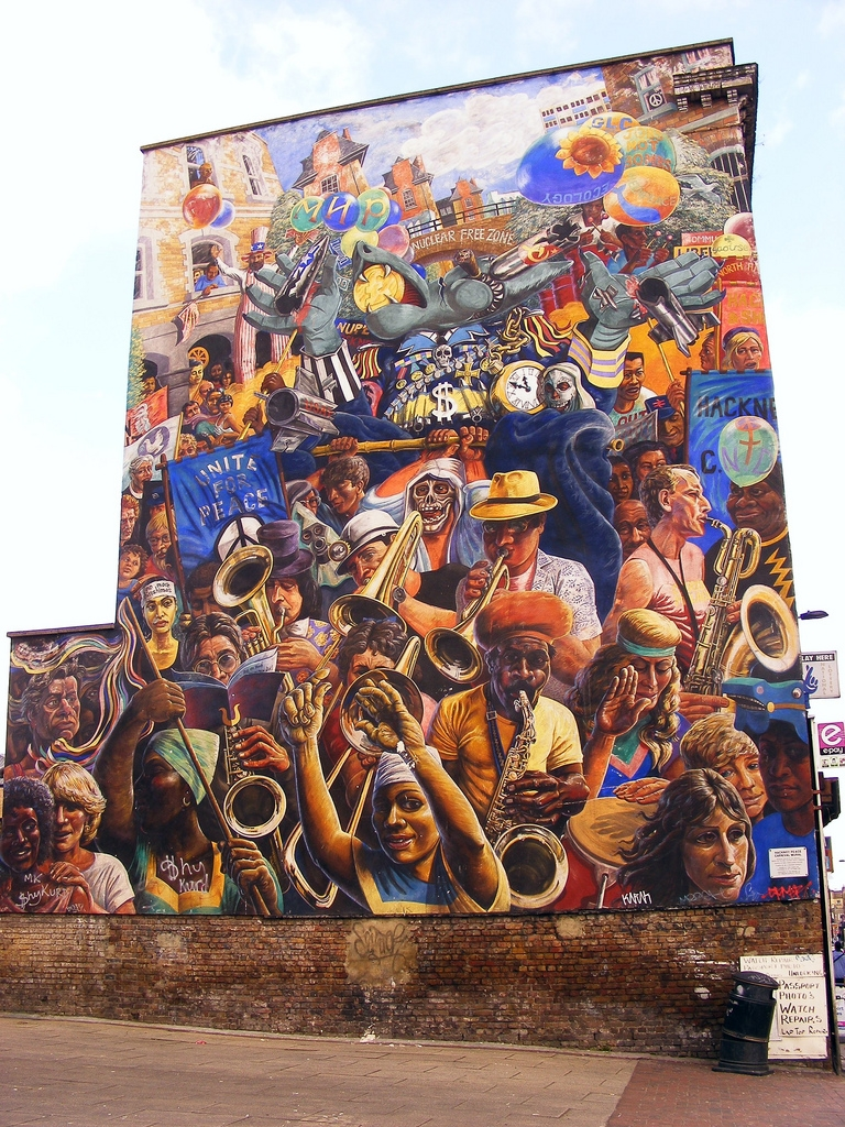 The Hackney Peace Carnival Mural, courtesy of The London Mural Preservation Society
