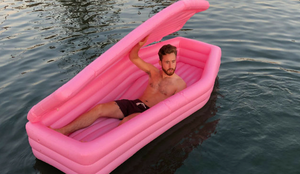 The pink coffin pool float