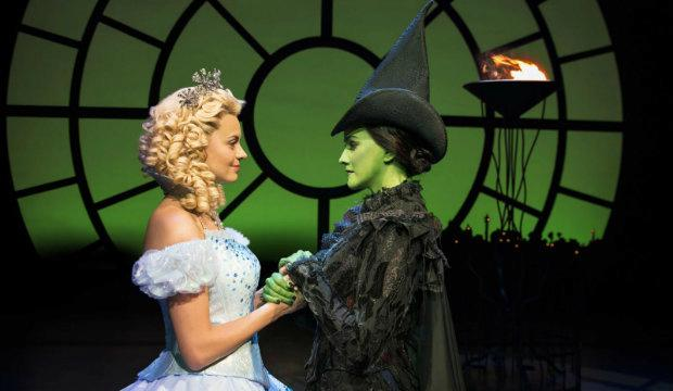 Sophie Evans and Alice Fearn in Wicked at the Apollo Victoria Theatre. Photo by Matt Crockett