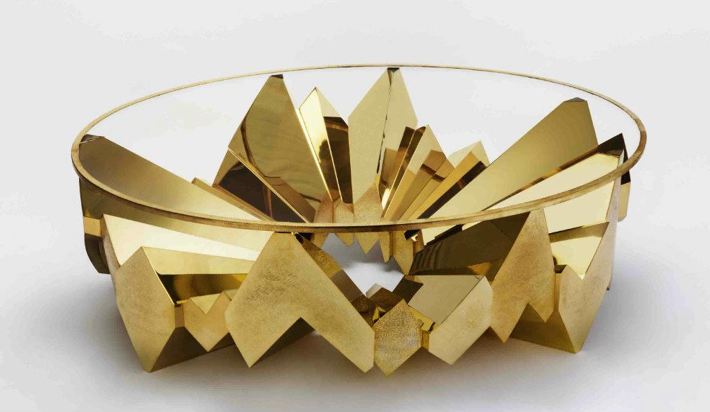 Garrido Aristas, Oval low table, Gold Plated. Courtesy of Garrido