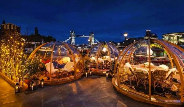Dine here: Coppa Club Igloos, Tower Bridge