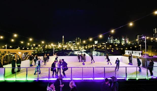 Rooftop ice rink at Skylight, Tobacco Dock