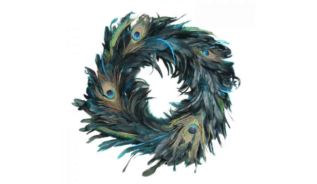 Peacock feather wreath by Graham and Green
