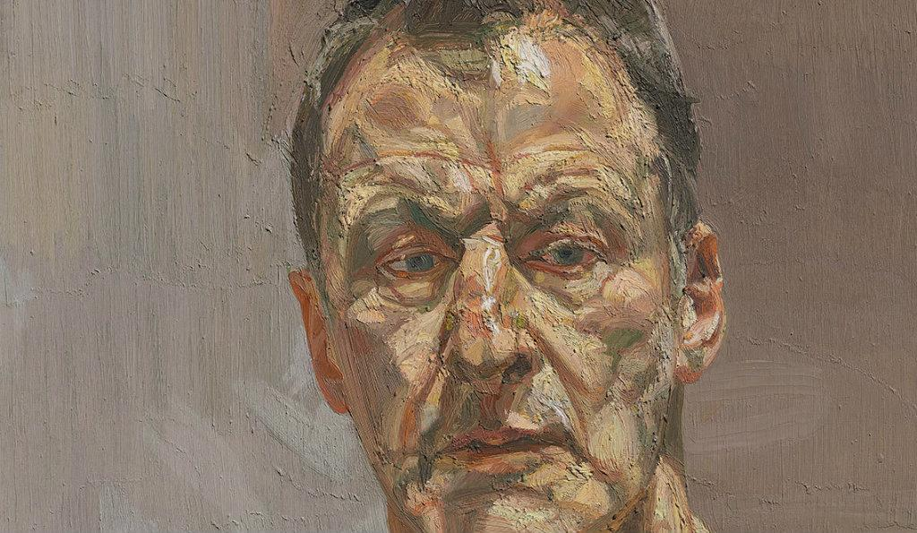 Detail: Reflection (Self-portrait), 1985.  Oil on canvas. 56.2 x 51.2 cm. Private collection, on loan to the Irish Museum of Modern Art © The Lucian Freud Archive / Bridgeman Images.