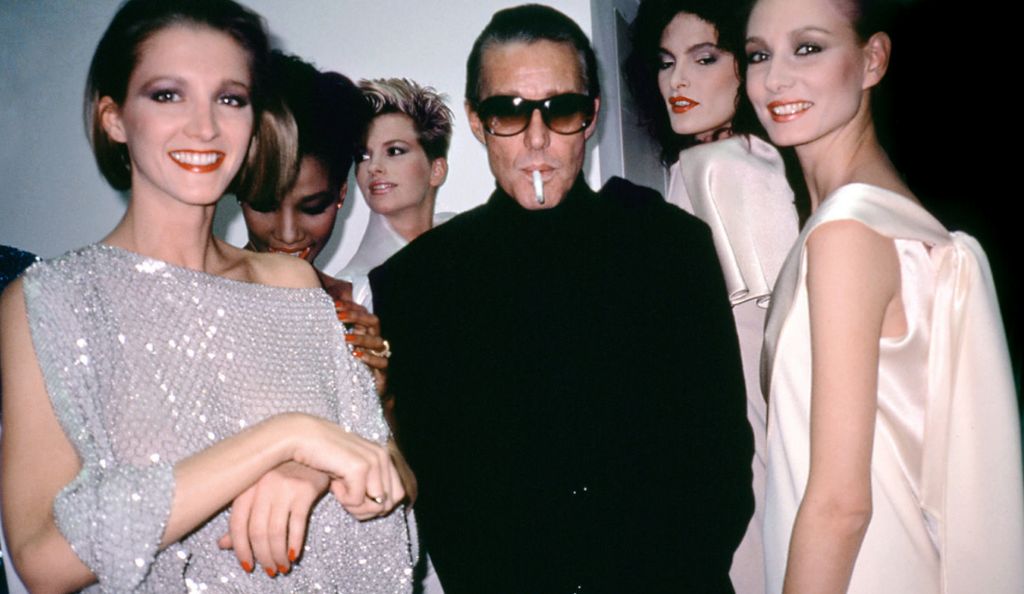 "Halston with models from ""Ultrasuede: In Search of Halston"" distributed by Tribeca Film. Photo Credit: Roxanne Lowit/Tribeca Film."