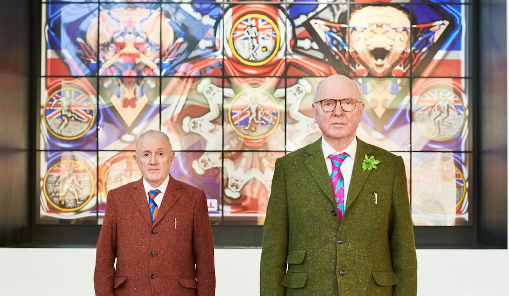 Gilbert & George in front of their work Handball @ BRAFA 2019 © Fabrice Debatty