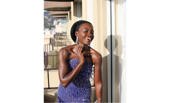 Lupita Nyong'o in Calvin Klein by Appointment at the Golden Globes