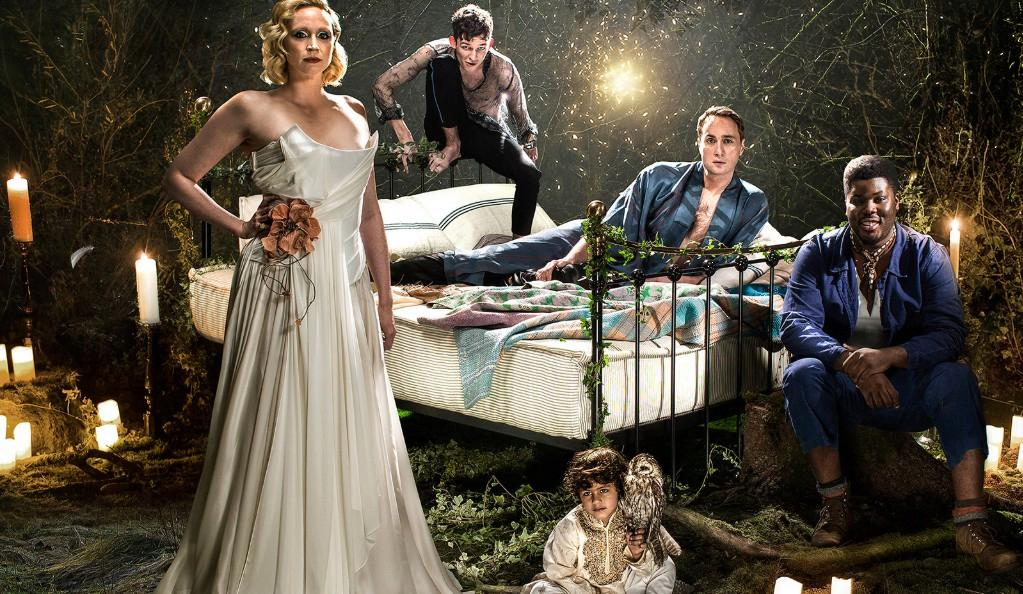 A Midsummer Night's Dream, Bridge Theatre: Gwendoline Christie (Titania), David Moorst (Puck), Ryan Bawa, Oliver Chris (Oberon) and Hammed Animashaun (Bottom). Photo by Perou