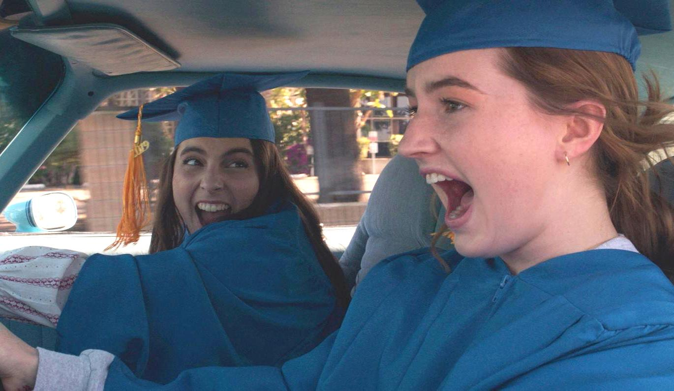 Beanie Feldstein and Kaitlyn Dever in Booksmart