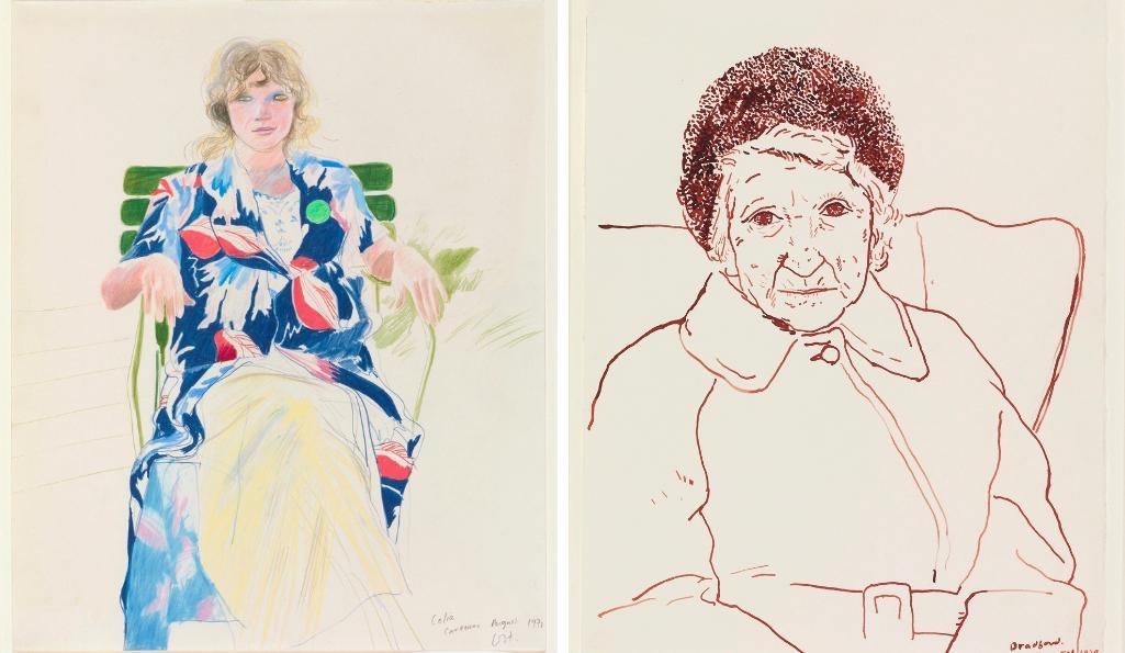 Left: David Hockney. Celia, Carennac. 1971. © David Hockney. Right: David Hockney Mother, Bradford. 1979 © David Hockney. Photo Credit: Richard Schmidt Collection The David Hockney Foundation
