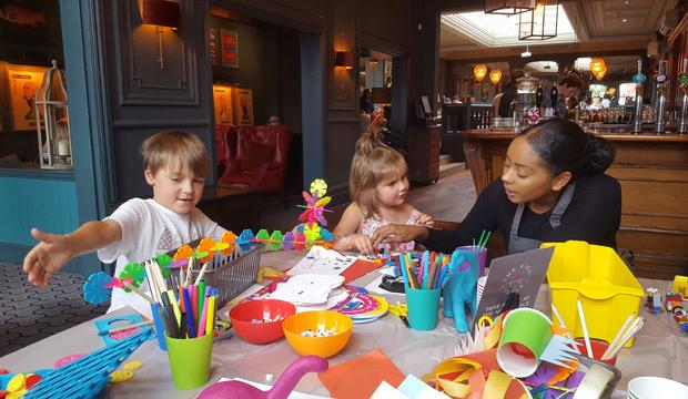 The Kids' Table offers entertainment for the kids while parents eat
