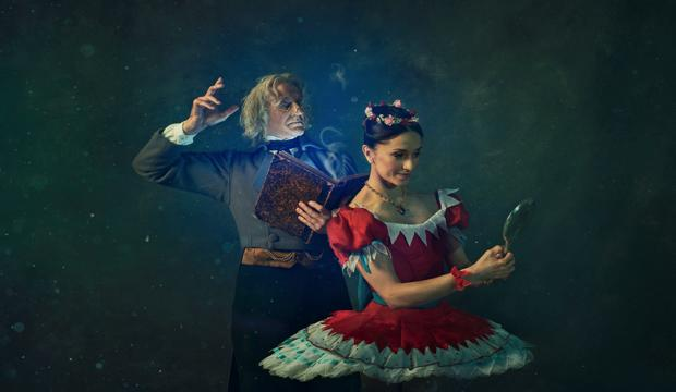 Gary Avis as Dr Coppélius, Marianela Nuñez as Swanilda (c) ROH 2019 Gavin Smart