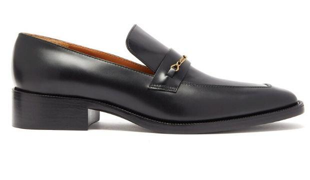 14. Marc Jacobs Chain-embellished square-toe leather loafers