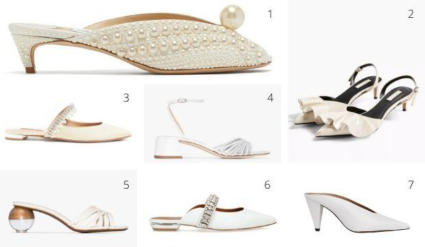 Classic cream and white wedding shoes