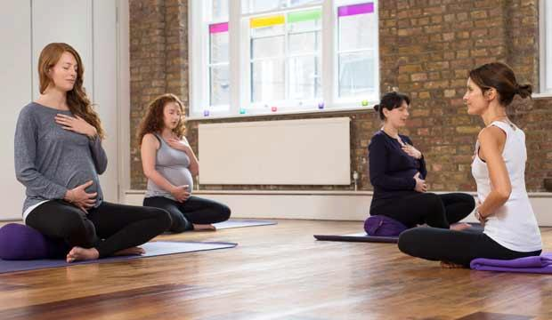 Pregnancy yoga with Nadia Narain at Triyoga is streaming online now. Photo: Triyoga
