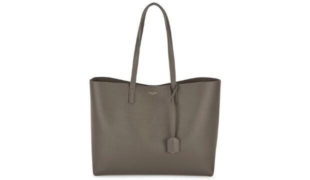 Saint Laurent leather tote bag in dark taupe, £700