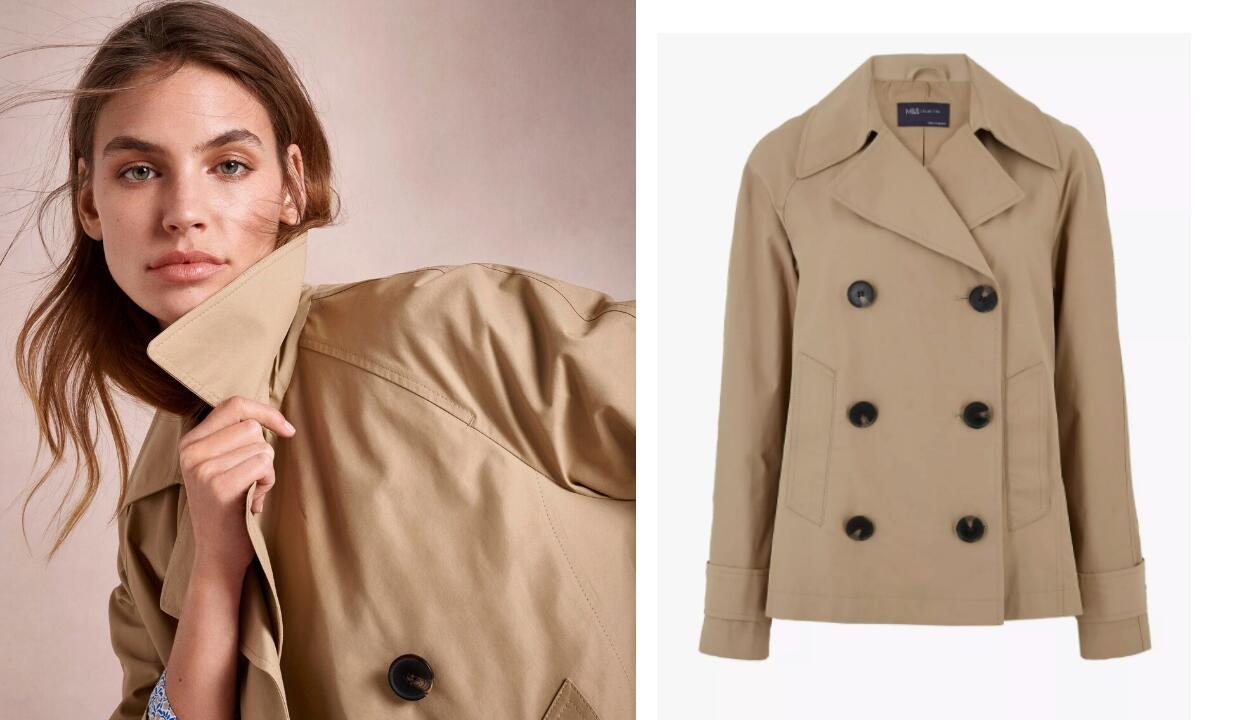 M&S Collection cotton rich double breasted pea coat, £45