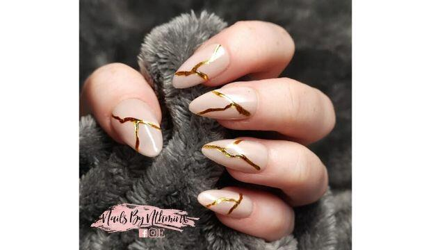 ​NailsByNthminx Nude Gold Veins Full Cover False Nails, £13.99