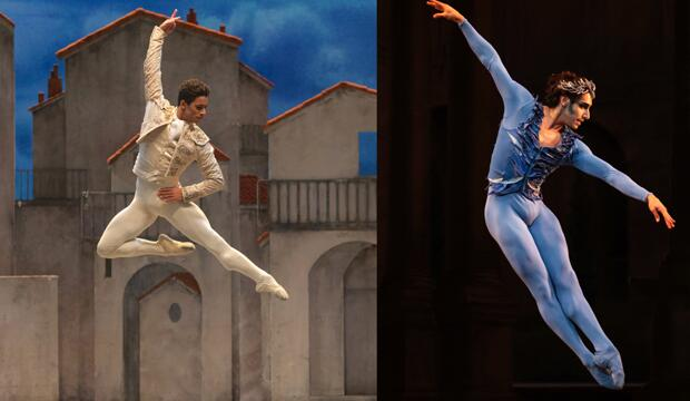 Marcelino Sambé in Don Quixote © ROH 2019. Photo: Andrej Uspenski; César Corrales in Bluebird © ROH 2019. Photo Helen Maybanks