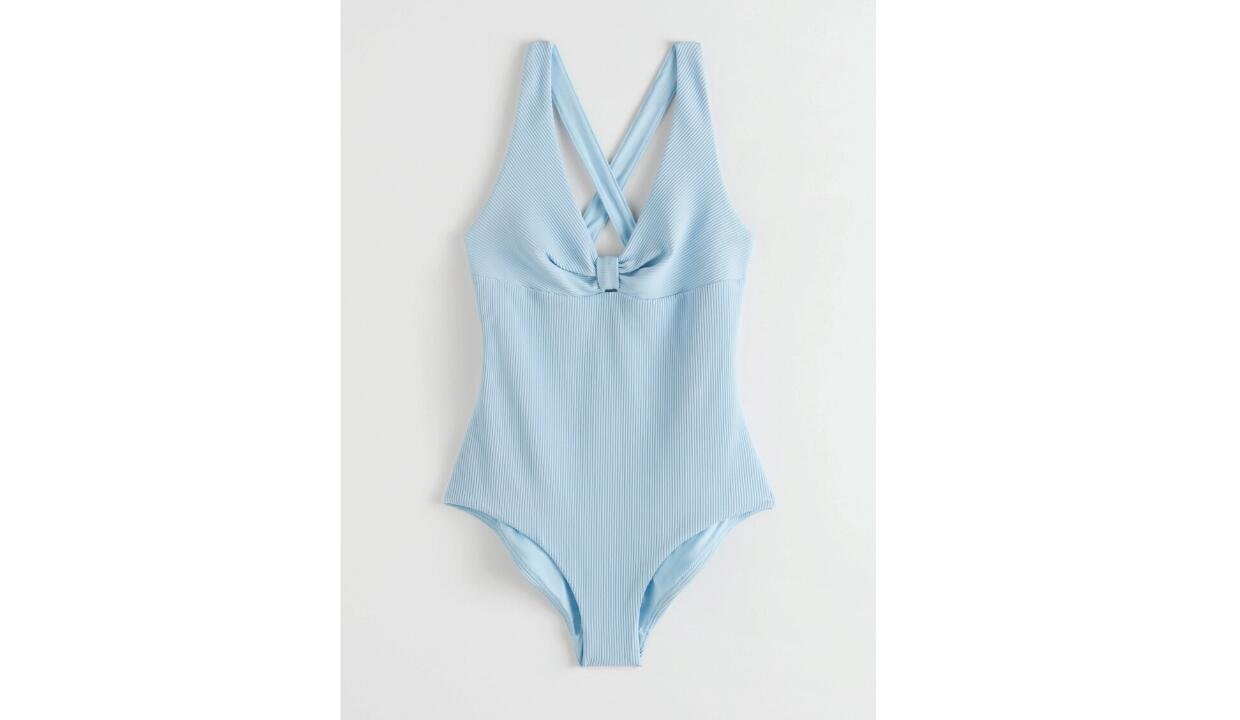 & Other Stories criss cross ribbed tie knot swimsuit, £55