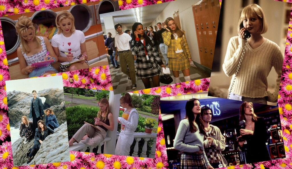 Nineties teen movies provide endless wardrobe inspiration: clockwise from top left: Romy & Michelle's High School Reunion; Clueless; Scream; Empire Records; 10 Things I Hate About You; The Craft