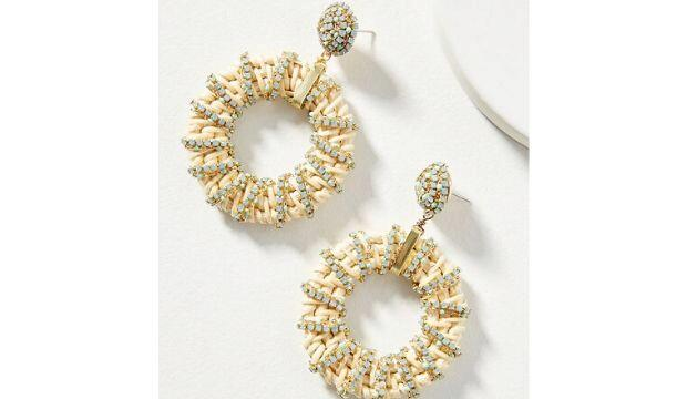 Viva Embellished Rattan Hoop Earrings, Anthropologie