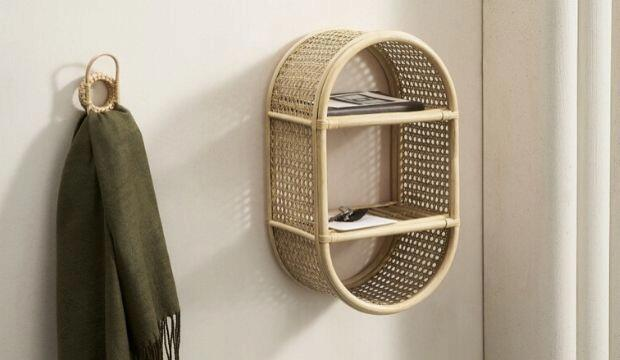 Wall Mounted Natural Rattan Shelves, Made