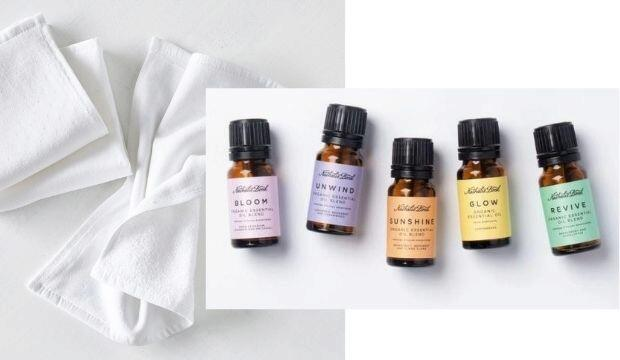 ​Ready-chilled Face Cloths | Boostology Essential Oils, £9.99 + The White Company Face Cloths, £15