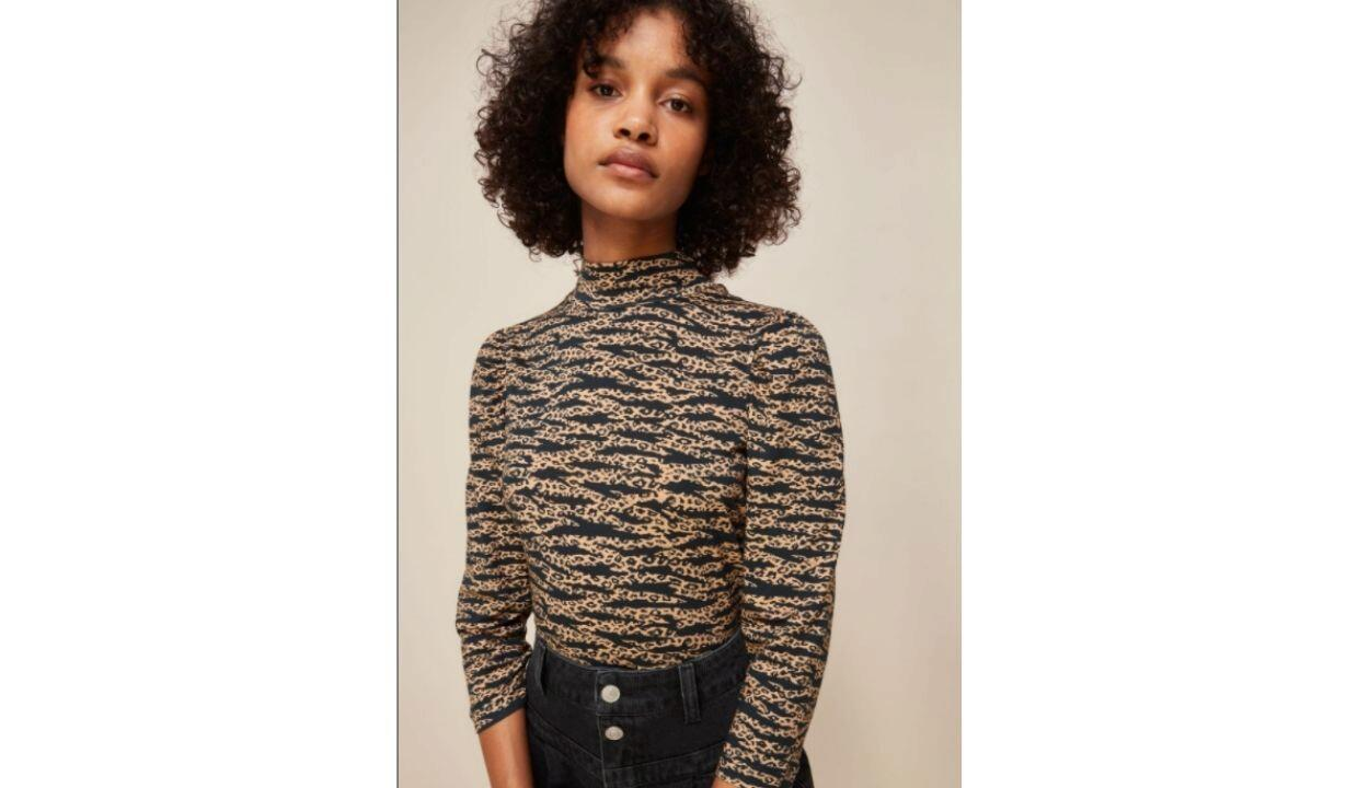 Whistles multicolour tiger leopard print high neck, £59