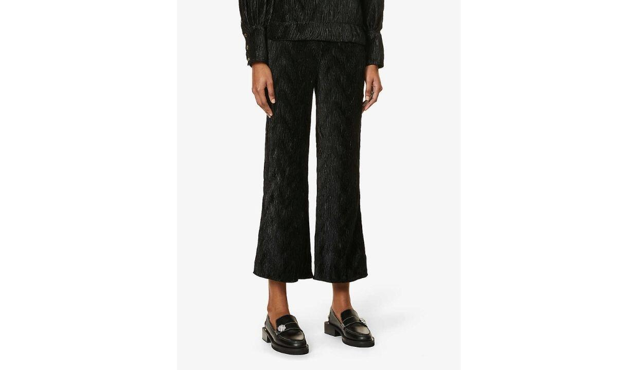 Ganni pleated straight high-rise woven trousers, £125
