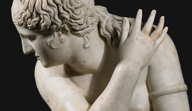 Marble statue of a naked Aphrodite crouching at her bath, also known as Lely's Venus. Roman copy of a Greek original, 2nd century AD. Royal Collection Trust/Her Majesty Queen Elizabeth II 2015.