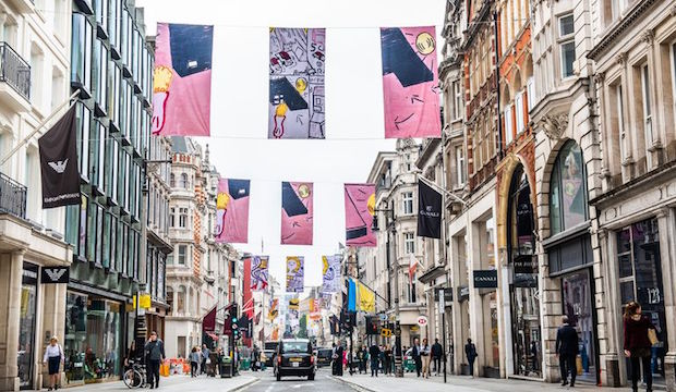 Royal Academy Summer Exhibition 2018, Bond Street, Rose Wylie flags