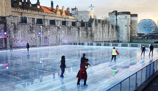 Winter activities for families: ice skating at the Tower of London