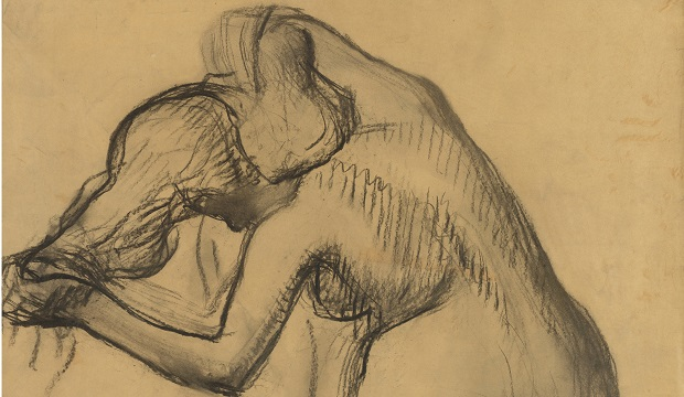 Edgar Degas (1834–1917), Female Nude Drying her Neck, c.1903, charcoal on tracing paper, 793 x 762 mm,  The Provost and Fellows of King's College, Cambridge (Keynes Collection), © The Provost and Fellows of King's College, Cambridge